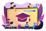 students-with-laptops-studying-huge-laptop-with-graduation-cap-free-online-courses-online-certificate-courses-online-business-school-concept_335657-792